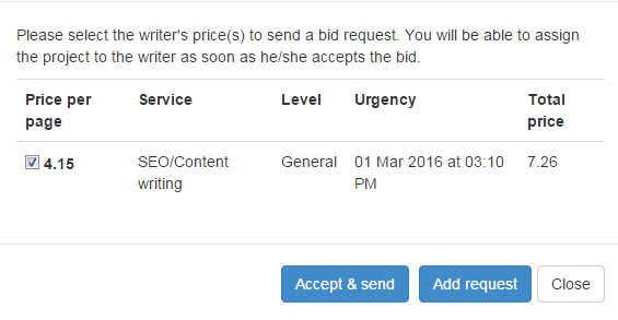 sending bids to writers